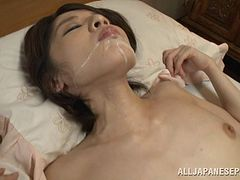 Mesmerizing Asian housewife gets facialed after riding a cock