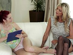 A wife seduces a younger chick and brings her home to her husband
