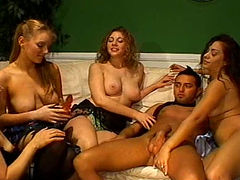 Horny male stripper is introduced to facesitting in reverse gangbang scene