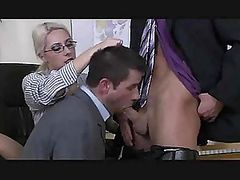 Blonde MILF Gets Fucked in The Office in a Superb Bisexual Threesome
