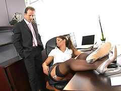 Hardcore brunette with nice face is fucking in the office