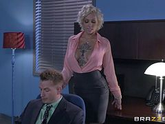 Blonde with big jugs loves to fuck her horny co-workers
