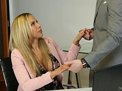 Gorgeous blonde MILF with big boobs gets fucked in the office