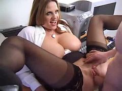 Curvaceous office babe gets fucked in her wet pussy