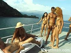 Randy group sex on the yacht with cock sucking and cunt banging