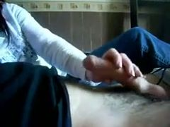 My buddy gets a quite nice handjob performed by his naughty GF