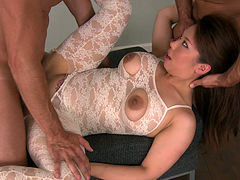Spoiled Korean slut in weird lingerie rides and sucks two dicks at once
