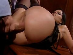 Italian babe takes a huge cock