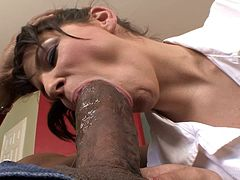 Blistering pornstar giving the big black cock a steamy blowjob before getting hammered