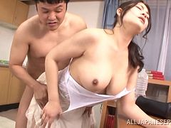 Stocking-clad Asian chick with a chubby body enjoying a hardcore missionary style fuck