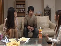 A married Japanese coupe has a threesome with a horny teen slut