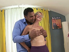 Skinny granny is not shy to suck dick in front of the camera