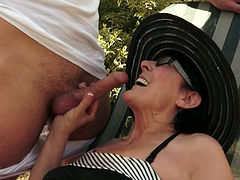 Spoiled granny with big tits gives her lover a great blowjob
