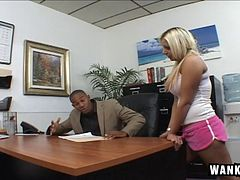 Shorts-clad blonde babe with a sexy ass enjoying a hardcore interracial fuck