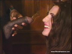 Mouthwatering Brunette Has Interracial Sex In A Retro Video