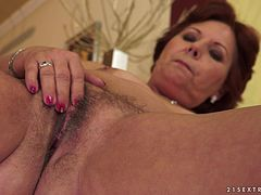 Horny granny toys her hairy pussy and gets fucked