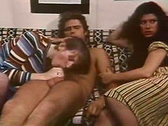 Wanton hookers Candida Royalle and Ange Tufts give steamy deep throat to one dude