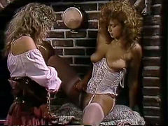 Two voluptuous lesbos undress and love each others body in hot retro clip