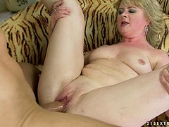 Mature blonde Cristina gets her pussy licked and fucked in cowgirl position