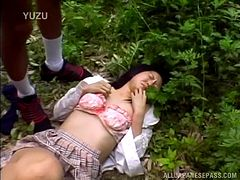 Rough fucking in the woods with a Japanese whore
