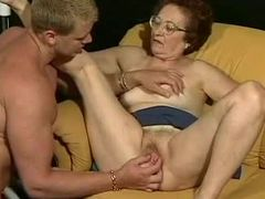 Wrinkled Granny Sucks Cock and Gets Fucked Hardcore Style