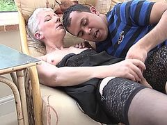 Pantyhose Granny reveals the kickers