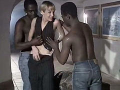 White whore wife Rebeca gives eager blowjob to a duo of big black dudes