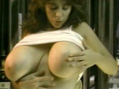 Extremely busty brunette flashes her huge boobies and chubby blondie masturbates