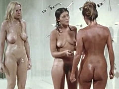 Kinky chicks are all naked and have fun while taking shower in the prison