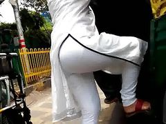 Desi Hot Ass Voyeur white leggings