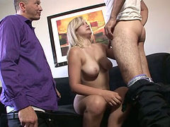 Saggy tittied blond wife teaches her bisexual husband how to suck dick