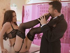 Erotic lingerie seduction of a man with a big cock