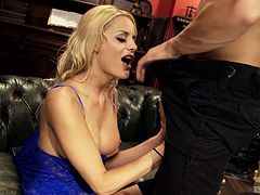 Bald guy gives the elegant babe a drilling that she needed so much