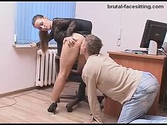 Russian model with hot ass demanding more pussy licking in femdom office porn