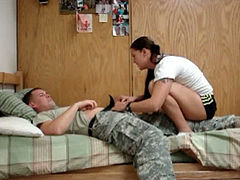 Cute white girlfriend of a soldier is hungry for a dick