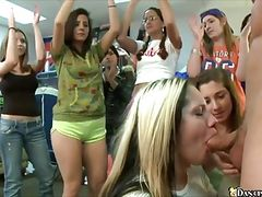 College girls suck male stripper's cock