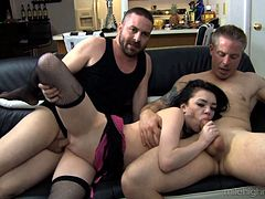 Ashton Haze lets the two guys fill her holes with throbbing boners