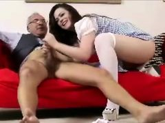 Older British guy fucks babe in stocking