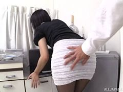 Japanese model with a nice ass tries to ride her companion's cock