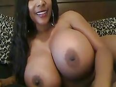 Ebony with huges tits masturbating on webcam