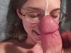 Tradegirl11 HD cumshot facial glasses smile