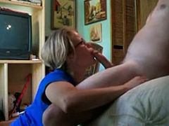 Sister gives a blowjob to her boyfriend and jerks it off