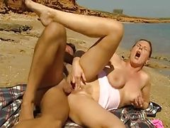 Nude Beach - Busty Mature Ass Fucked & Fisted CIM Suckoff