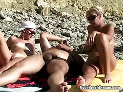 Swingers ffm threesome on the beach
