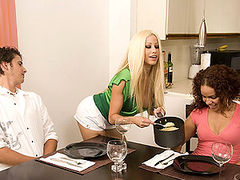 Gina Lynn Sucks Her Dinner Guest's Cock in the Kitchen