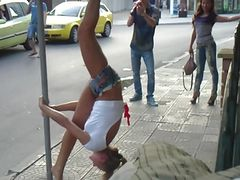 Hot Russian girls dancing on a street sign