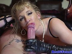 BDSM blonde real MILF anal plowed hard