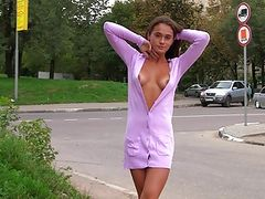 Hot girl flashing tits and pussy next to busy road