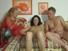 German mom and a younger couple having fun