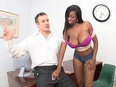 Nice ass pornstar welcomes a white cock deep in her ebony twat